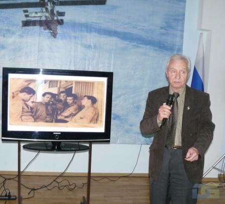 Выступает Лавров Дмитрий Николаевич – ветеран подготовки первого пилотируемого полета в космос